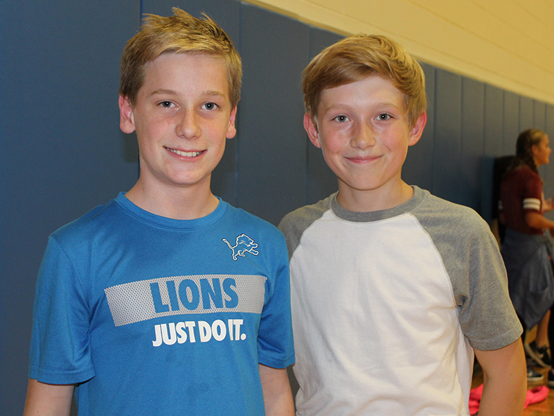Two boys at the SMS 7th grade party
